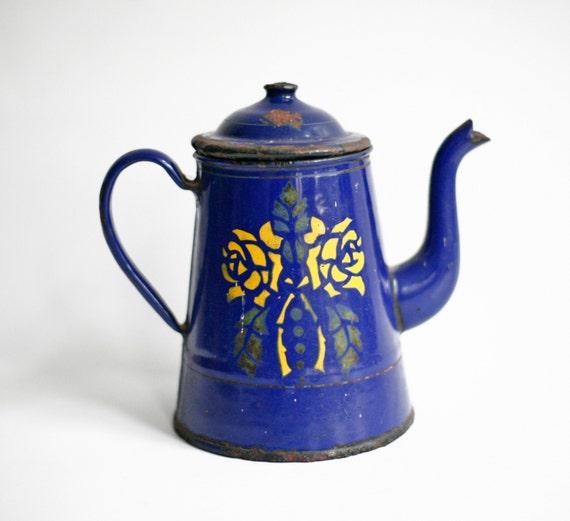 Enamel Kitchen Accessories: French Enamel Coffee Pot Blue 1940s French Kitchen Decor