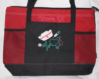 Personalized Nurse Tote Bag Bags; Monogrammed RN LPN CNA nurse gifts