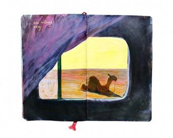 "Fine Art Print - Original Moroccan Sahara Landscape Painting from Artist Travel Journal - ""Desert Camel"""