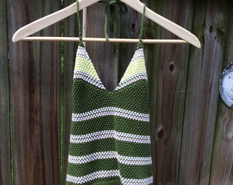 90s does 70s vintage CROCHET HALTER TOP, festival knit crop top