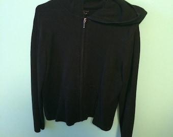 Vintage 90s knit zip up hoodie jacket, black