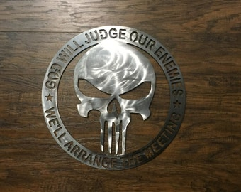 Navy Seal God Will Judge Our Enemies We'll Arrange the Meeting Metal Sign