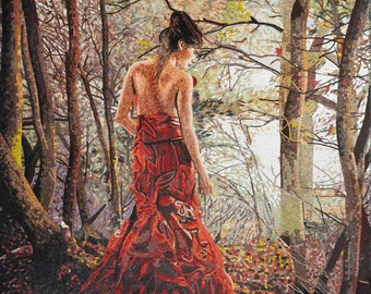 Lady in the Woods  Marble Mosaic Mural