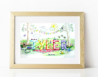 Custom Name Painting Personalized Childrens Watercolour Name Art Custom Watercolour Personalized Baby Art Personalised Kids Painting