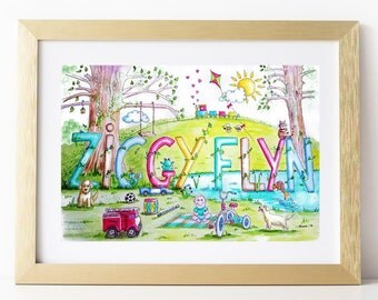Custom Name Painting. Personalized Childrens Watercolour. Name Art. Custom Watercolour. Personalized Baby Art. Personalised Kids Painting.