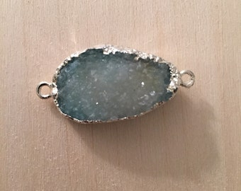 Light blue druzy connector; drusy pendant; druzy connector