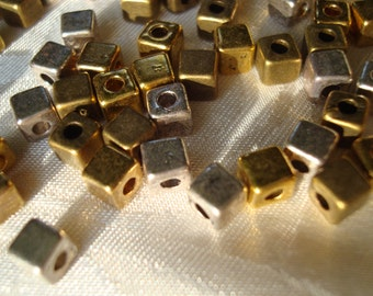 128 Metal Cube Beads 4mm. 4 Color Mix. Gold Silver Bronze & Copper. Metal Cube Spacers. Limited Supply   ~USPS Ship Rates from Oregon