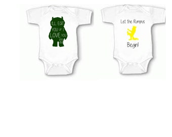 Where the Wild Thing Are, Where the wild things are bodysuit, Rompus bodysuit, Ill Eat you up onesie
