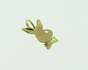 14 K gold bunny with bow tie pendant/charm