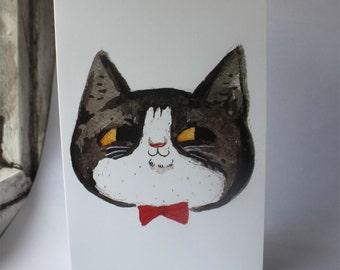 Tuxedo Cat Greetings Card- tux kitty- Black and white cat- 猫- ねこ