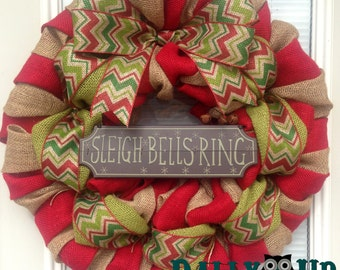 Christmas Wreath - Winter Wreath, Natural and Red with Chevron Ribbon, Holiday Burlap Wreath - Merry Christmas Burlap Wreath