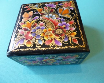 Vintage Laquerware Box Made in Mexico Hand Painted Floral and Butterfly Design Wood Treasure Box