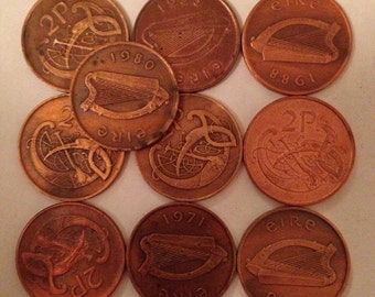 2P irish vintage copper coins (10 coins per pack) 1971-2000