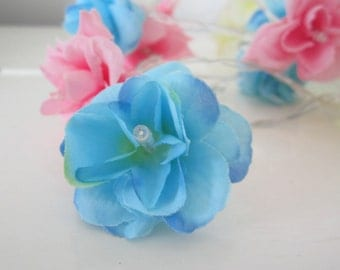 Rose Fairy Lights in light blue, pink and off white, Flower string lights, Rose Lights String Garland