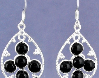 Earrings sterling silver .925 Onix