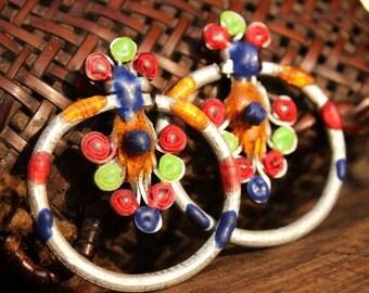 Hmong Dzao Handmade Enamel Earrings 3mm Gauge 8g Hill Tribe Colourful Tribal Ethnic Hippie loop *SALE*