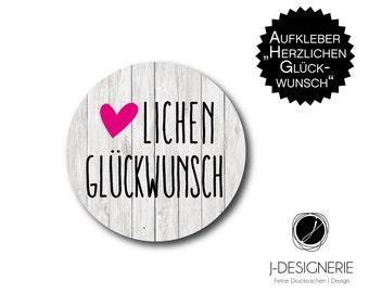 24 x sticker I of thank GlückwunschI 4 cm round