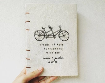 Custom Wedding Gift or Guestbook, Hand Bound Notebook blank inside, Coptic Stitch Binding, Handmade Paper, Tandem Bicycle Adventure Theme