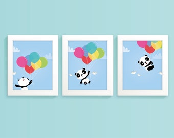 Panda bear nursery art print, children's art, kids room decor, nursery illustration, Panda nursery wall art, new baby gift, boys nursery