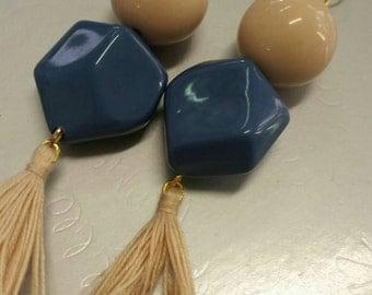 Resin and tassel earrings