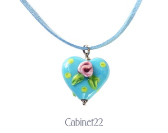 Handcrafted lampwork, blue glass heart pendant, floral handmade heart necklace, unique gift with raised flower detail ~ Cabinet22