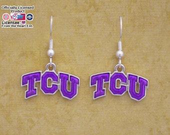 TCU Horned Frogs Iridescent Logo Earrings