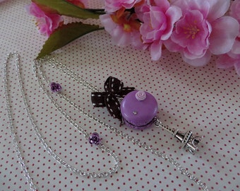 Lovely necklace purple badge and Ribbon