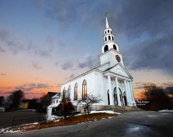 Sunset Congregational Church Sutton, MA Original Photograph and Canvas