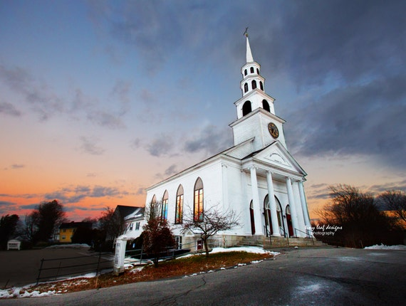Sunset Congregational Church Sutton, MA Original Photograph and Canvas