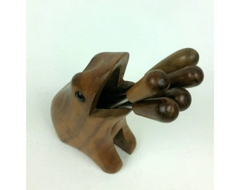 70s Fondue Fork Frog Set in Carved Wood