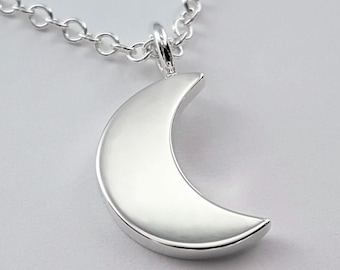 Moon Necklace Pendant In Sterling Silver - Sterling Silver Moon Necklace, Crescent Moon Necklace, Sterling Silver Moon Pendant, Half Moon