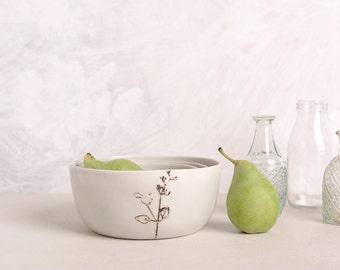 Ceramic grey bowl set of 3, Ceramic bowl, Modern serving bowl, Salad grey bowl, Micromeria fruticosa illustration bowl, Grey home decor