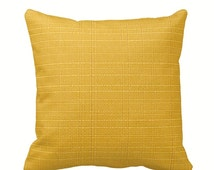 Soleil Outdoor Zippered Throw Pillow Cover by Primal Vogue™ - Various Sizes 14x14 16x16 18x18 20x20 24x24 - Golden Yellow Textured Cushion