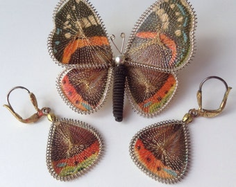Unique Butterfly Brooch and Earring Set