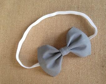 Gray Baby Headband - Infant Headband - Toddler Headband - Little Girl Headband - baby headband - Bow Headband - Baby Bow Headband