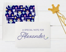 Personalized Tooth Fairy Card on Shimmer Cardstock with Sparkling Austrian Crystal Star Accent and Adorable Tooth Envelope Liner