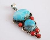 Pretty Coral turquoise pendant - Drop pendant - Bezel set pendant - Gemstone pendant - Gift for her Ri-086