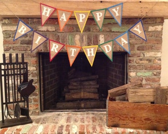 Happy Birthday Burlap Banner - Made To Order