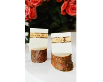 Rustic wedding name card holders, wooden place card holders, SET of 100 natural pine card holders, Shabby Chic decor, wedding table decor