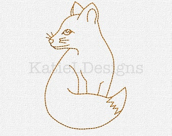 Redwork Fox Machine Embroidery Pattern Design Instant Download 4x4 5x7 6x10 Modern Woodlands Redwork