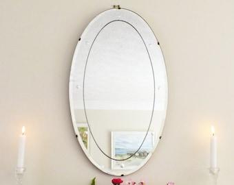 Antique Mirror Vintage Mirror Art Deco mirror frameless mirror Bevelled edge bevelled mirror French shabby chic short chain  M108