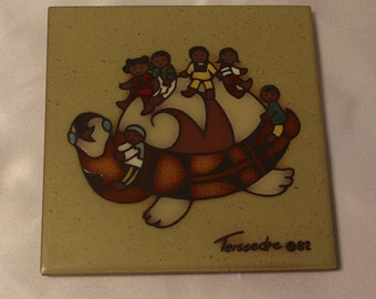 Cleo Teissedre  Hand Painted Ceramic tile Plate / Trivet / Plaque