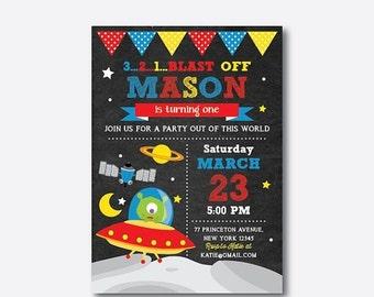 Alien Birthday Invitation, Alien Invitation, Alien Party Invitation, Space Invitation, Boy Invitation, Personalized, Chalkboard (CKB.68)