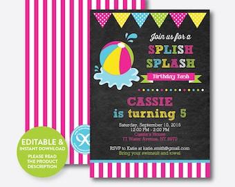 Instant Download, Editable Beach Ball Birthday Invitation, Beach Party Invitation, Pool Party Invitation, Splish Splash, Chalkboard(CKB.109)