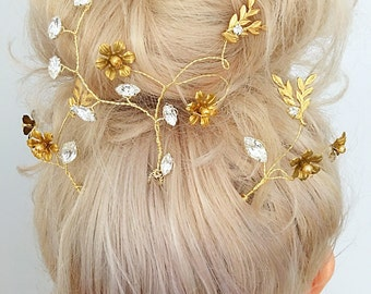 Set of Three Vintage Gold Woodland Whimsy Bridal Hair Pins