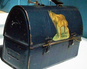 Old Lunch Pail / Horse and Dog Imagery / Decoupaged over blue Metal flake car paint / Vintage Custom