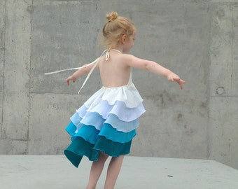 Flamenco Party Dress in Aqua Blue Ombré