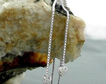 Delicate Durchzieher with zirconia heart Silver 925