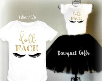 New Baby Girl Clothes/Doll Face/Girl Clothes/Glittered