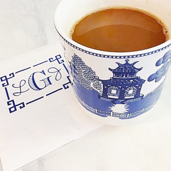 Greek key monogram napkins, chinoiserie napkins, Monogrammed cups, monogrammed shatterproof cups, frostflex cups, reception napkins